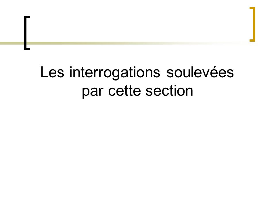 Les interrogations soulevées par cette section