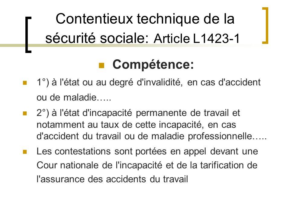 Contentieux technique de la sécurité sociale: Article L1423-1