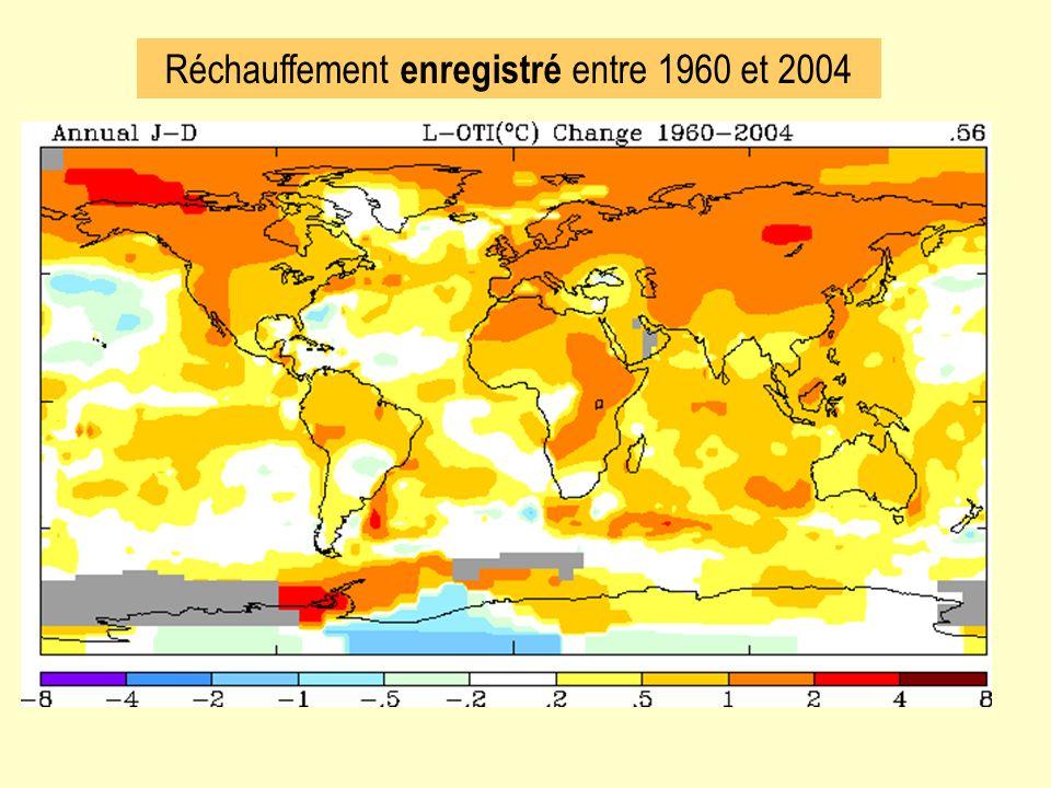Réchauffement enregistré entre 1960 et 2004
