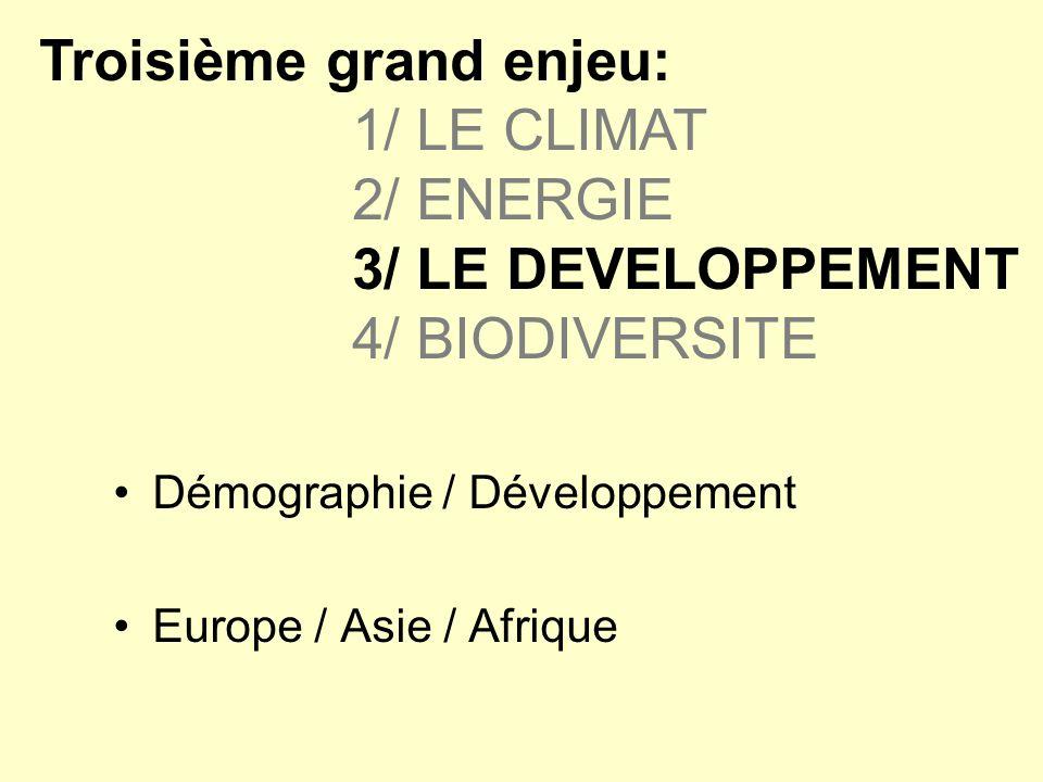 Troisième grand enjeu:. 1/ LE CLIMAT. 2/ ENERGIE. 3/ LE DEVELOPPEMENT