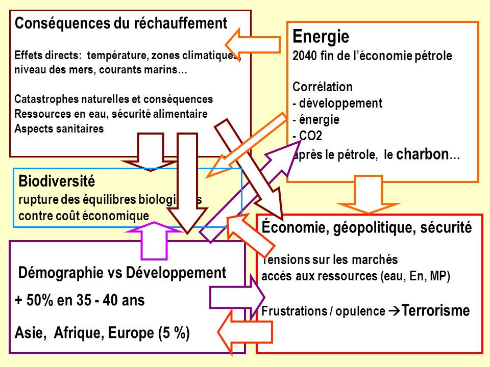 Conséquences du réchauffement Effets directs: température, zones climatiques, niveau des mers, courants marins…
