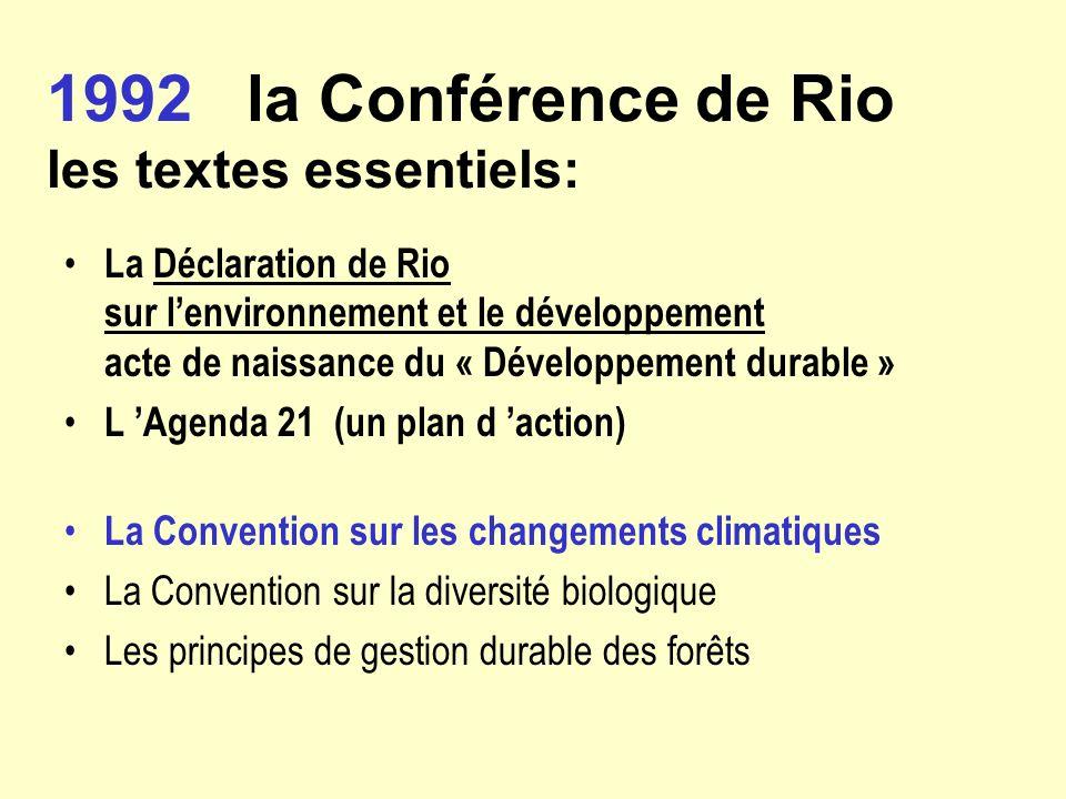 1992 la Conférence de Rio les textes essentiels: