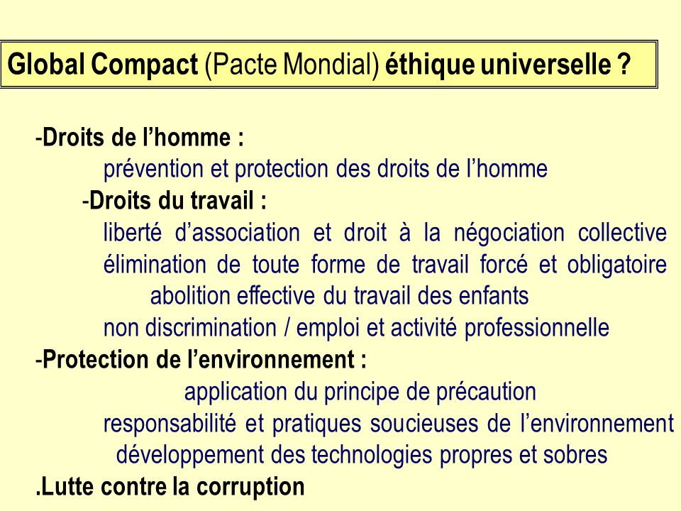 Global Compact (Pacte Mondial) éthique universelle