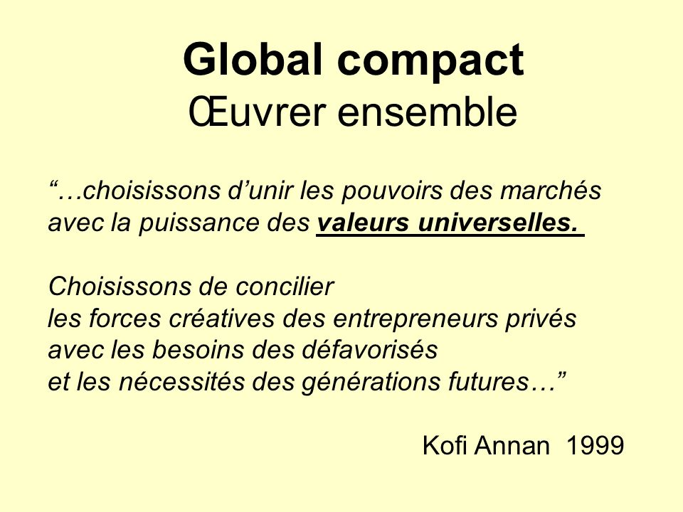 Global compact Œuvrer ensemble