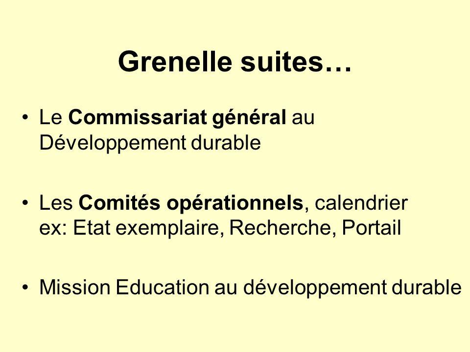 Grenelle suites… Le Commissariat général au Développement durable