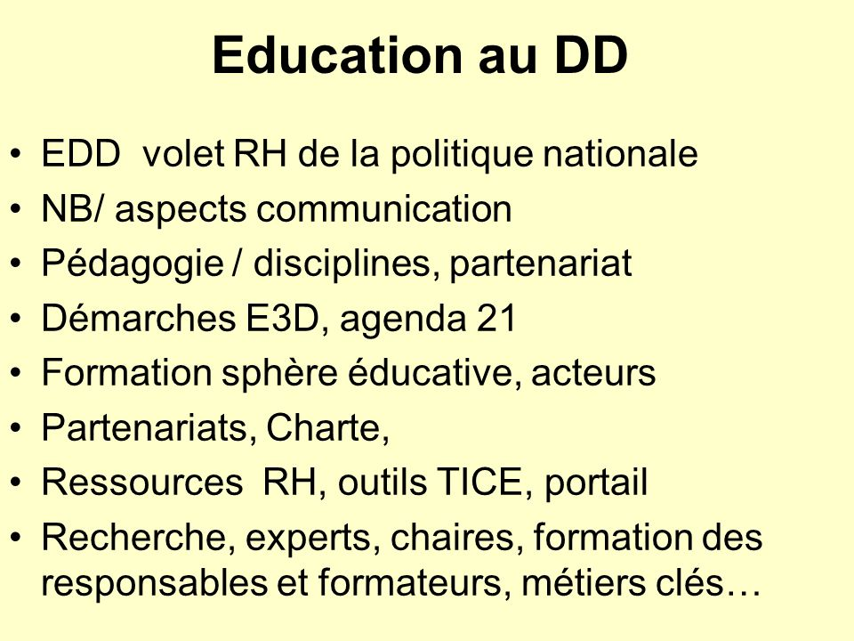 Education au DD EDD volet RH de la politique nationale