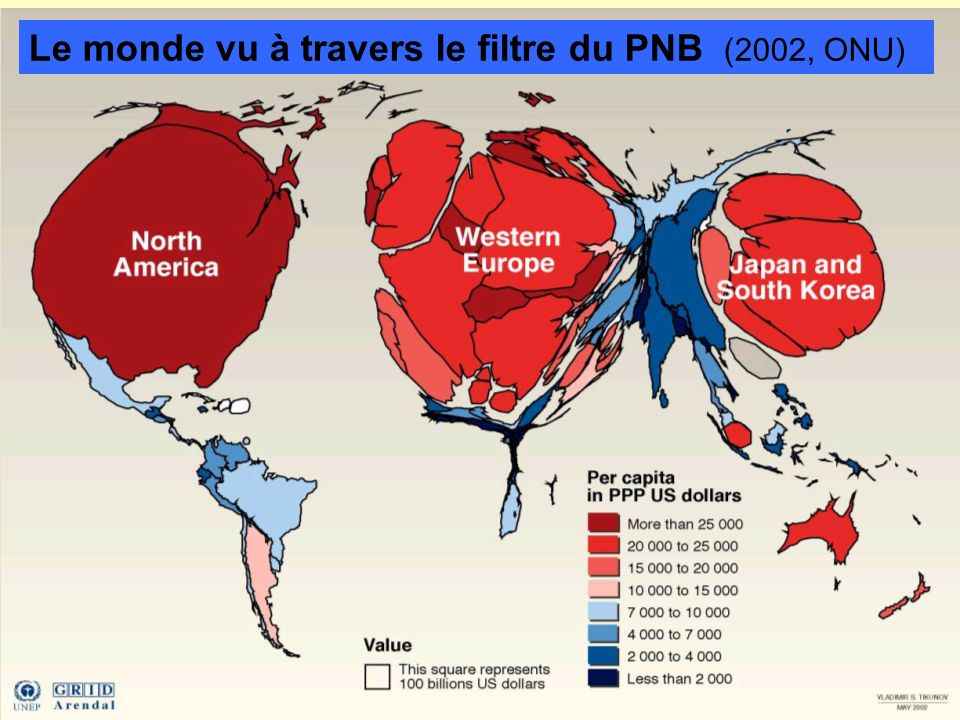 Le monde vu à travers le filtre du PNB (2002, ONU)