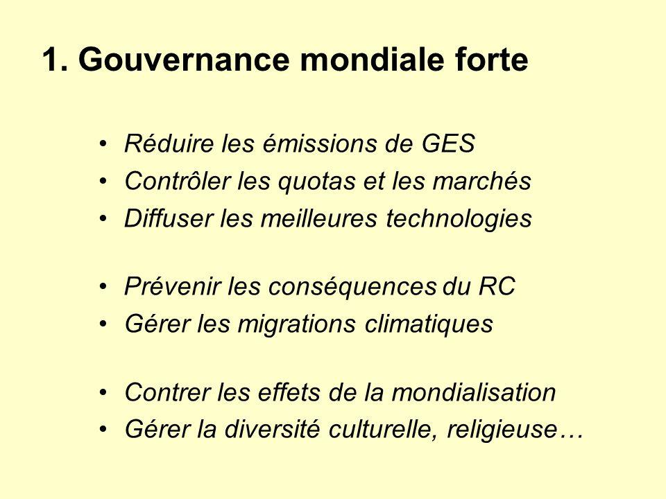 1. Gouvernance mondiale forte