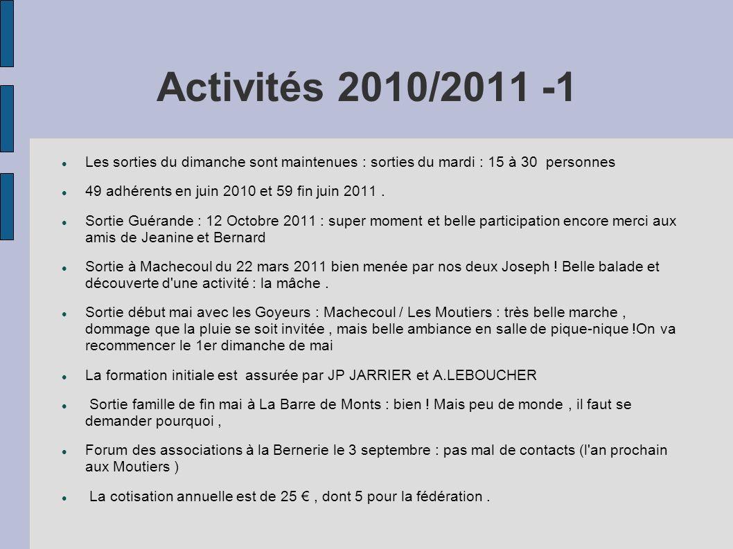 Activités 2010/2011 -1 Les sorties du dimanche sont maintenues : sorties du mardi : 15 à 30 personnes.