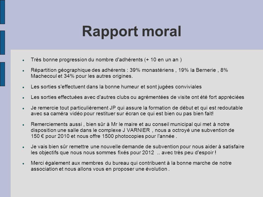 Rapport moral Très bonne progression du nombre d adhérents (+ 10 en un an )