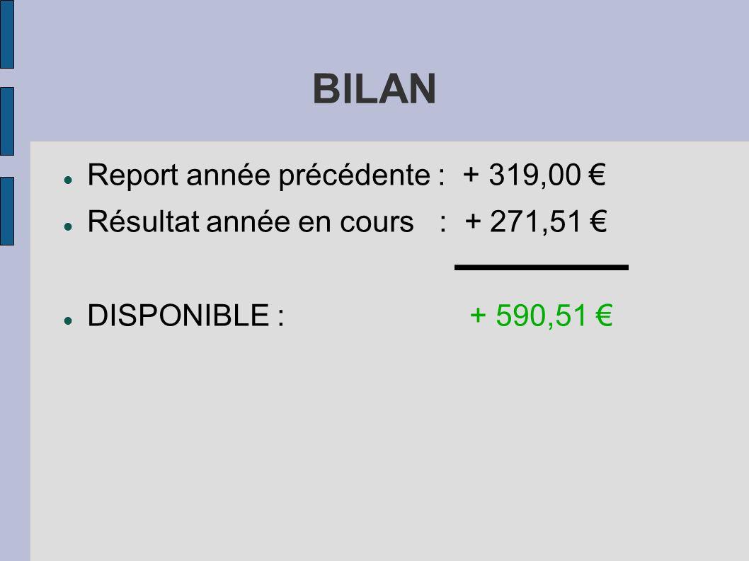 BILAN Report année précédente : + 319,00 €