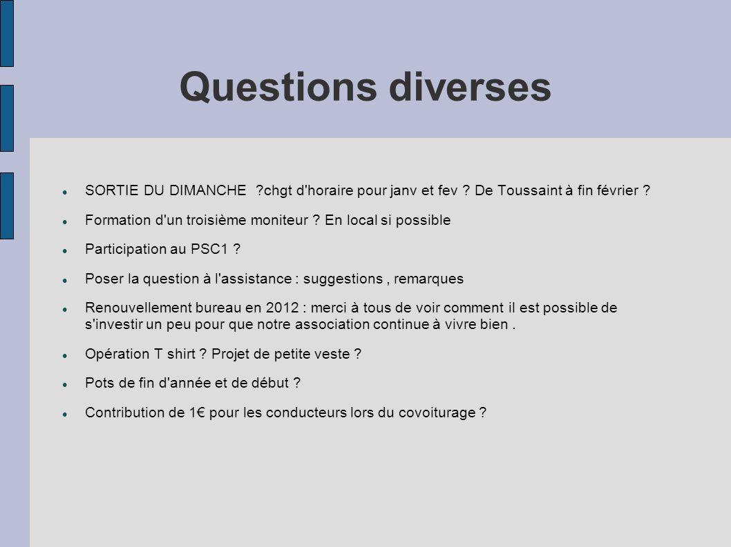 Questions diverses SORTIE DU DIMANCHE chgt d horaire pour janv et fev De Toussaint à fin février