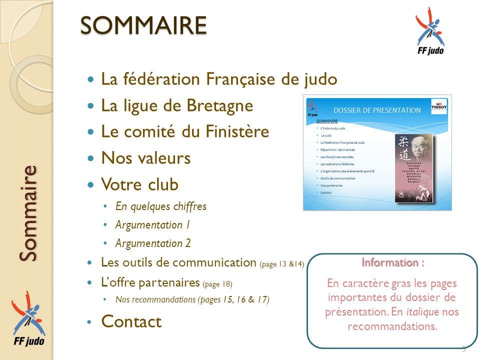 SOMMAIRE Sommaire La fédération Française de judo La ligue de Bretagne