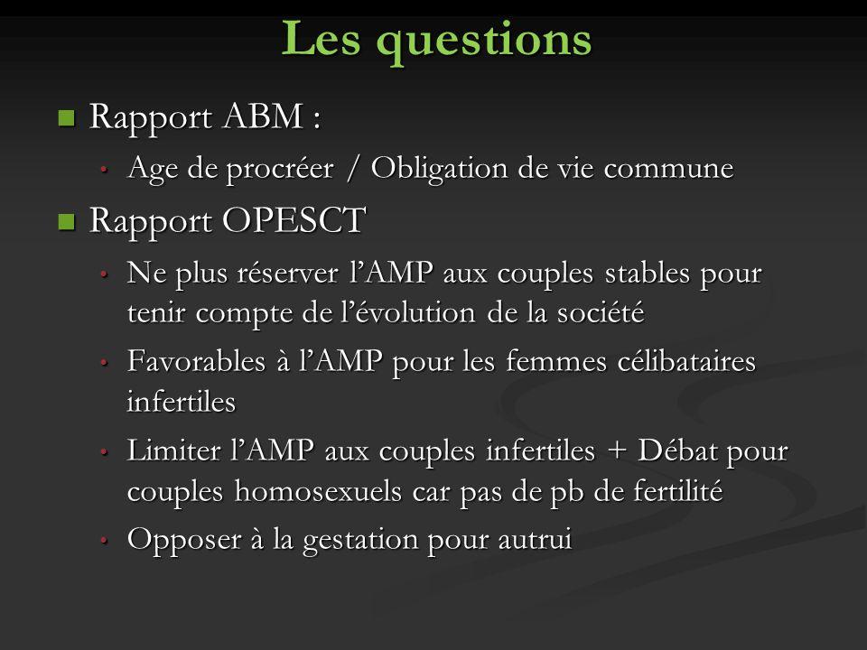 Les questions Rapport ABM : Rapport OPESCT