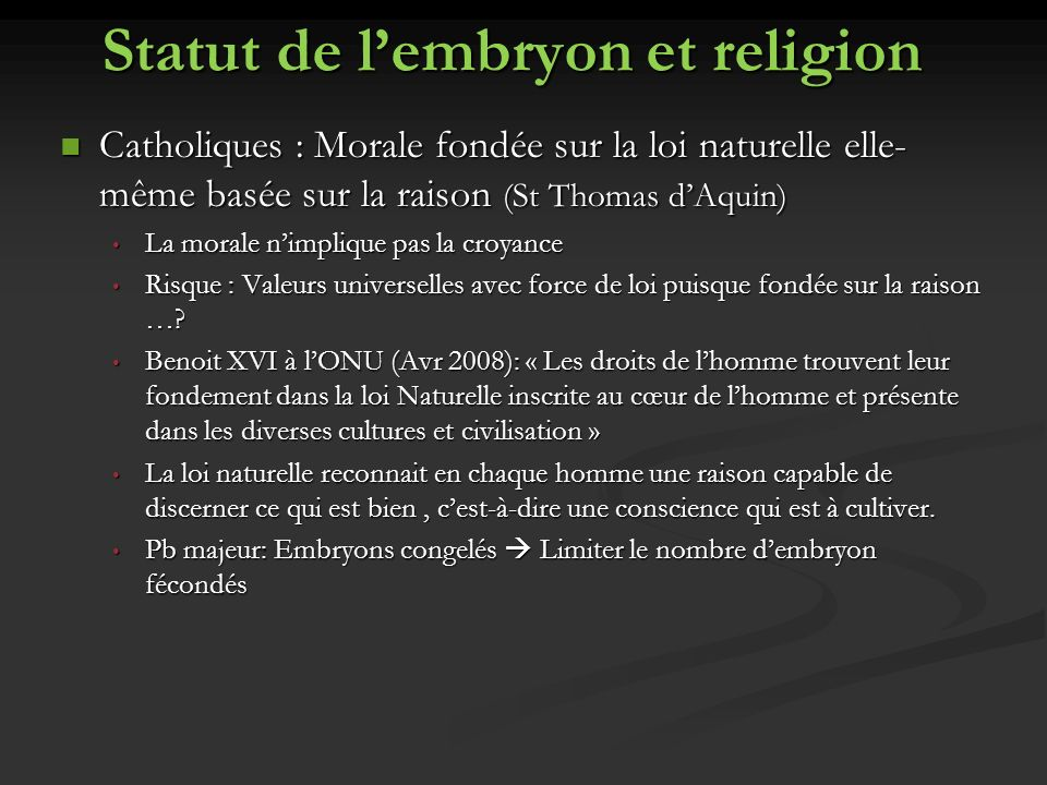 Statut de l'embryon et religion