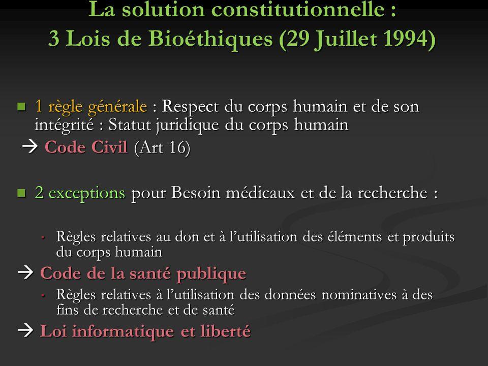 La solution constitutionnelle : 3 Lois de Bioéthiques (29 Juillet 1994)