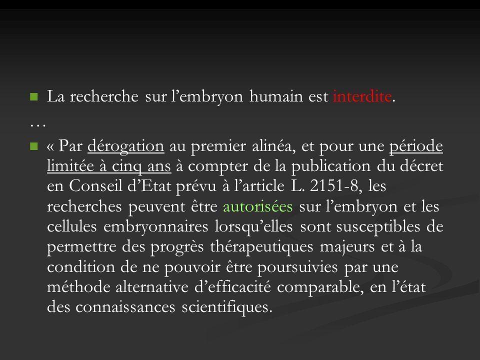 La recherche sur l'embryon humain est interdite.