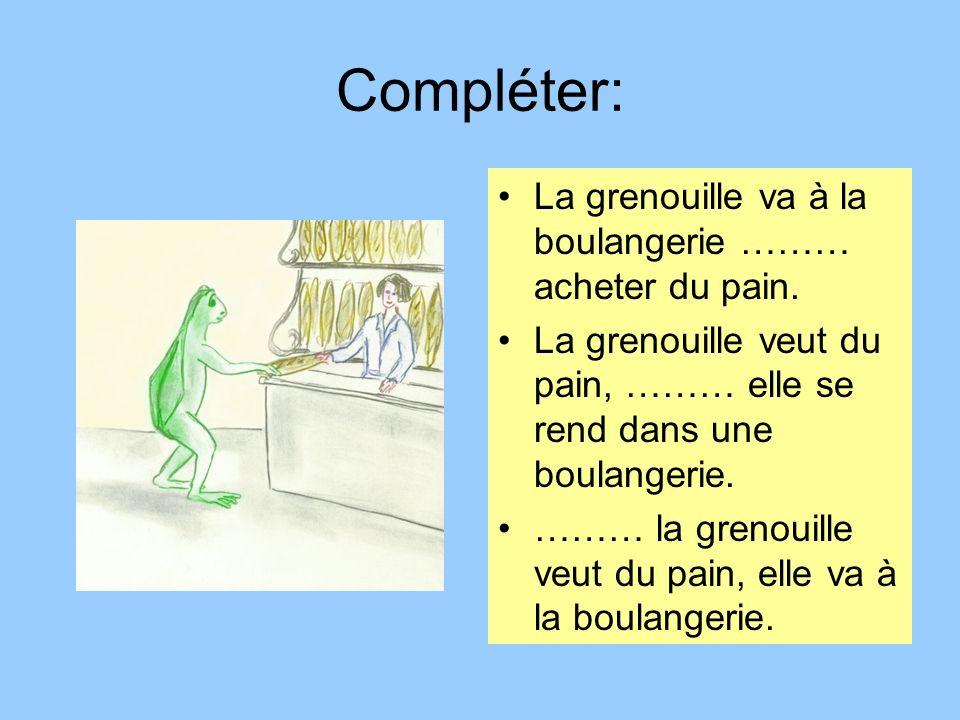 Compléter: La grenouille va à la boulangerie ……… acheter du pain.