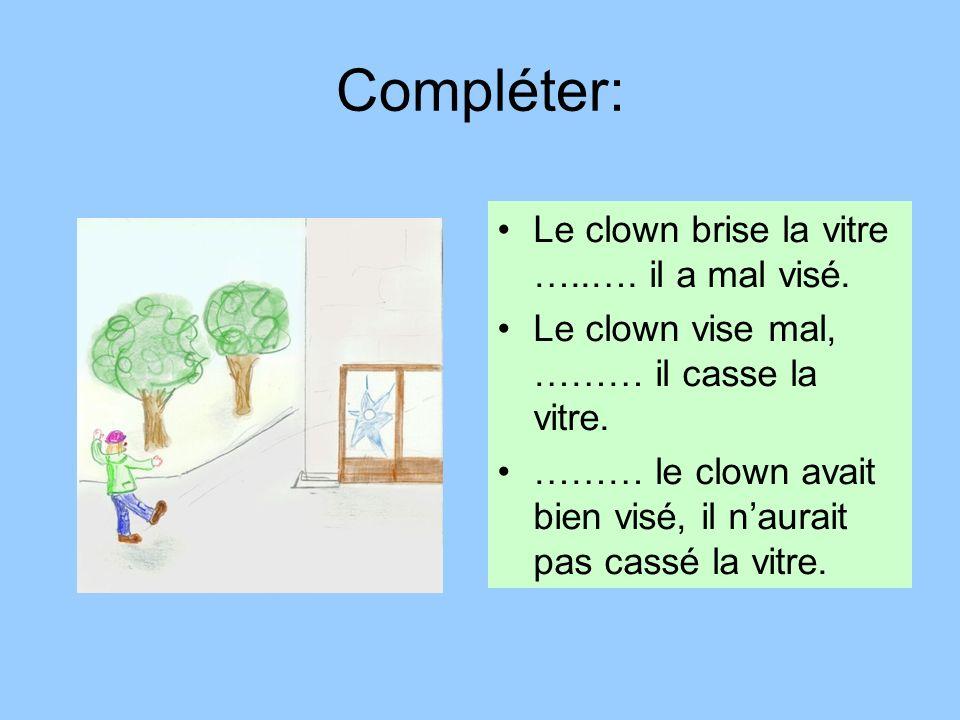 Compléter: Le clown brise la vitre …..…. il a mal visé.