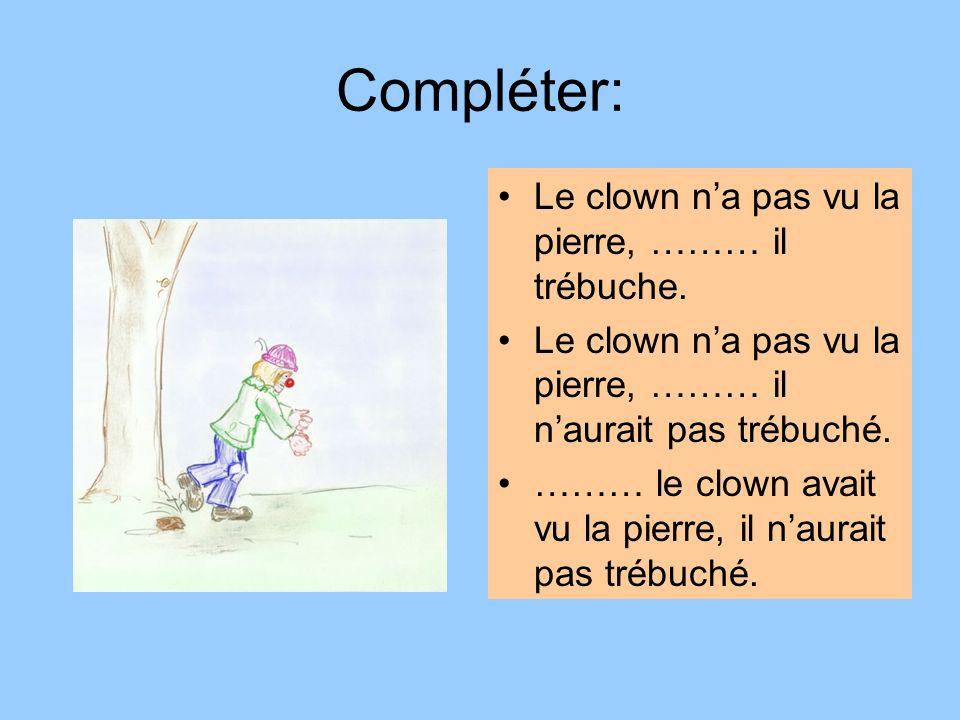 Compléter: Le clown n'a pas vu la pierre, ……… il trébuche.