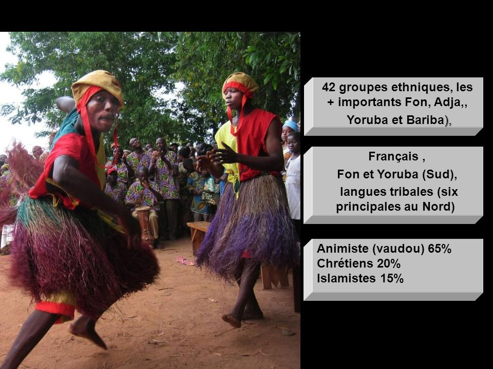 42 groupes ethniques, les + importants Fon, Adja,, Yoruba et Bariba),
