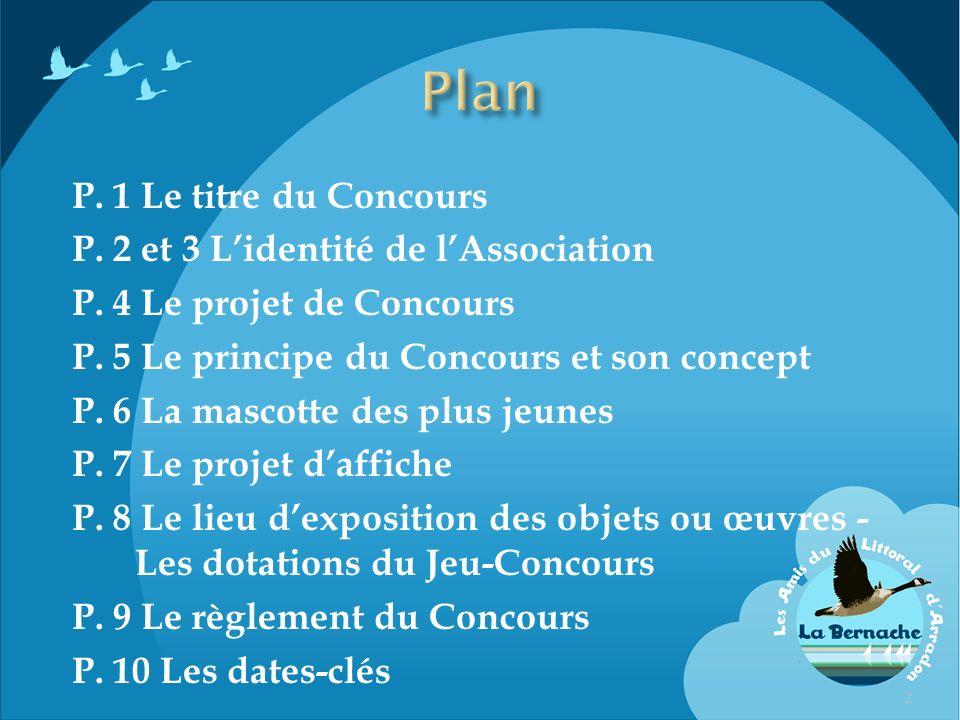 Plan P. 1 Le titre du Concours P. 2 et 3 L'identité de l'Association