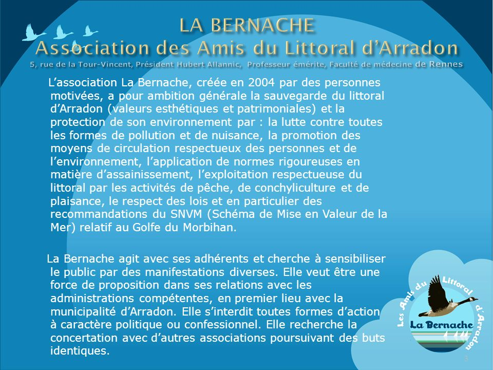 LA BERNACHE Association des Amis du Littoral d'Arradon 5, rue de la Tour-Vincent, Président Hubert Allannic, Professeur émérite, Faculté de médecine de Rennes