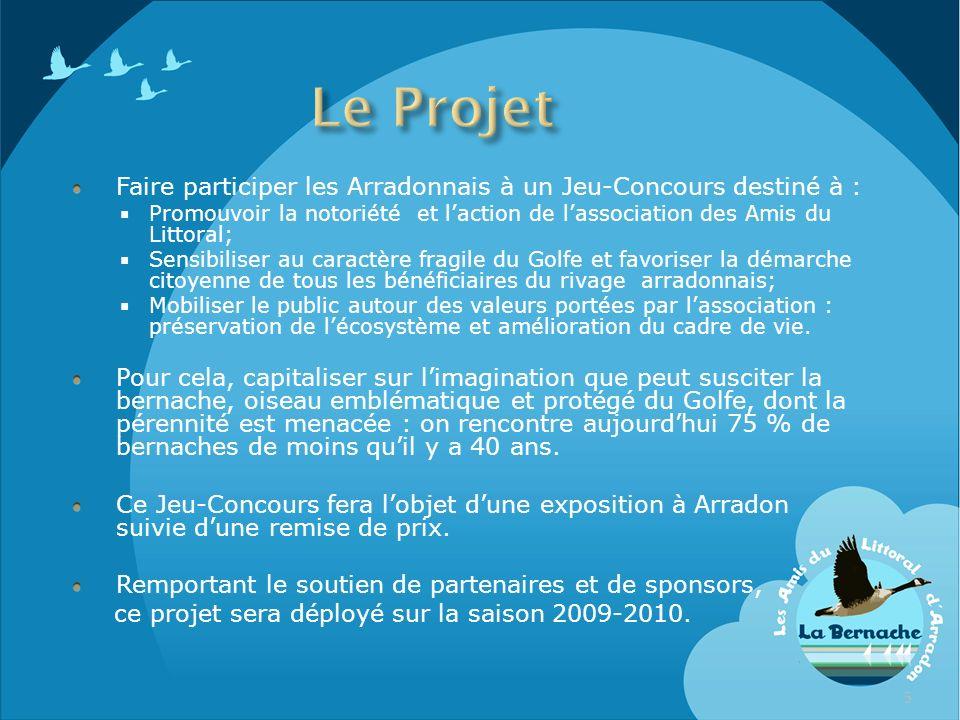 Le Projet Faire participer les Arradonnais à un Jeu-Concours destiné à : Promouvoir la notoriété et l'action de l'association des Amis du Littoral;