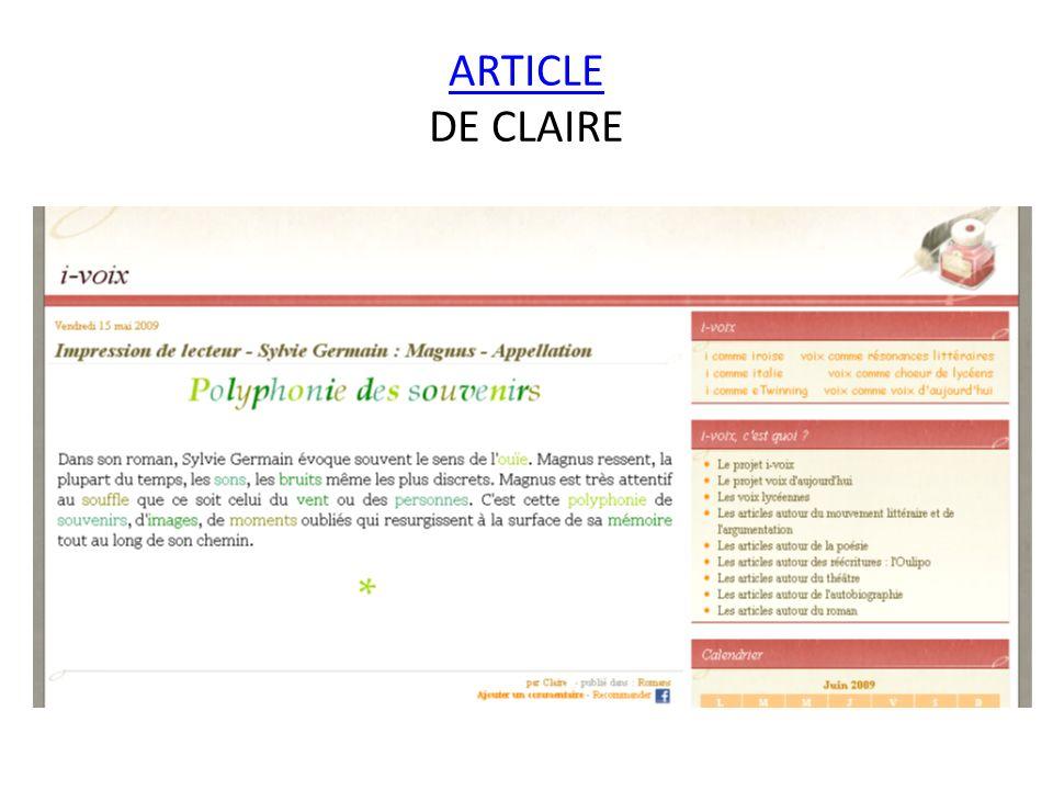 ARTICLE DE CLAIRE