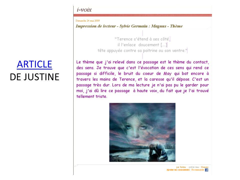ARTICLE DE JUSTINE