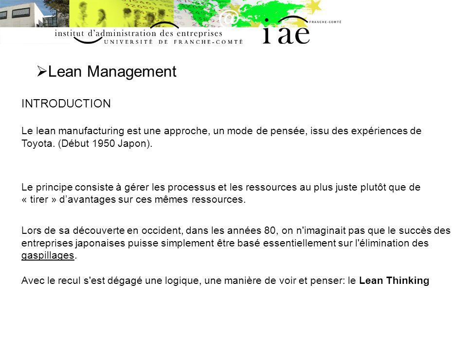 Lean Management INTRODUCTION Le lean manufacturing est une approche, un mode de pensée, issu des expériences de Toyota. (Début 1950 Japon).
