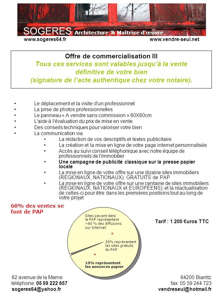 Offre de commercialisation III Tous ces services sont valables jusqu'à la vente définitive de votre bien (signature de l'acte authentique chez votre notaire).