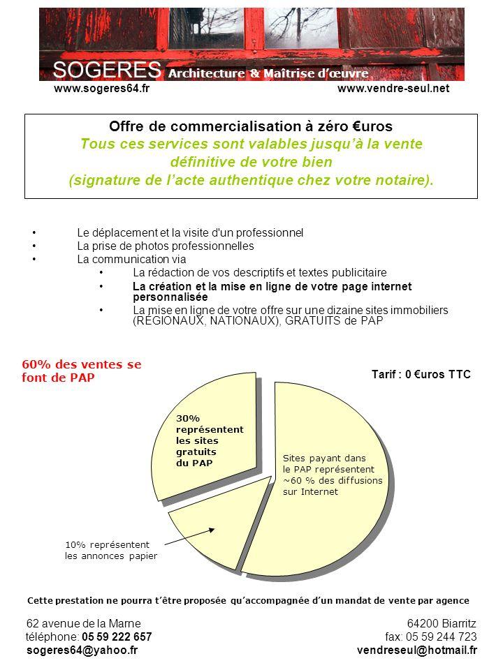Offre de commercialisation à zéro €uros Tous ces services sont valables jusqu'à la vente définitive de votre bien (signature de l'acte authentique chez votre notaire).