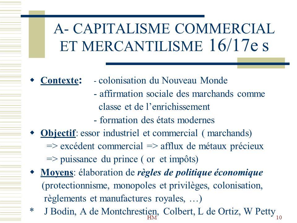 A- CAPITALISME COMMERCIAL ET MERCANTILISME 16/17e s