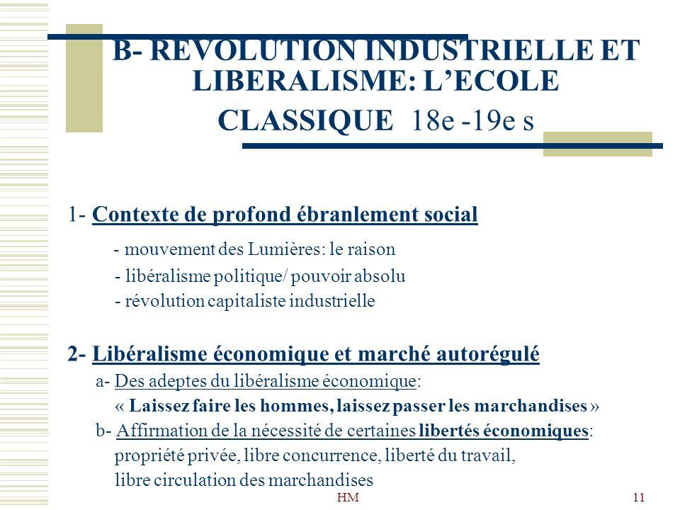 B- REVOLUTION INDUSTRIELLE ET LIBERALISME: L'ECOLE CLASSIQUE 18e -19e s
