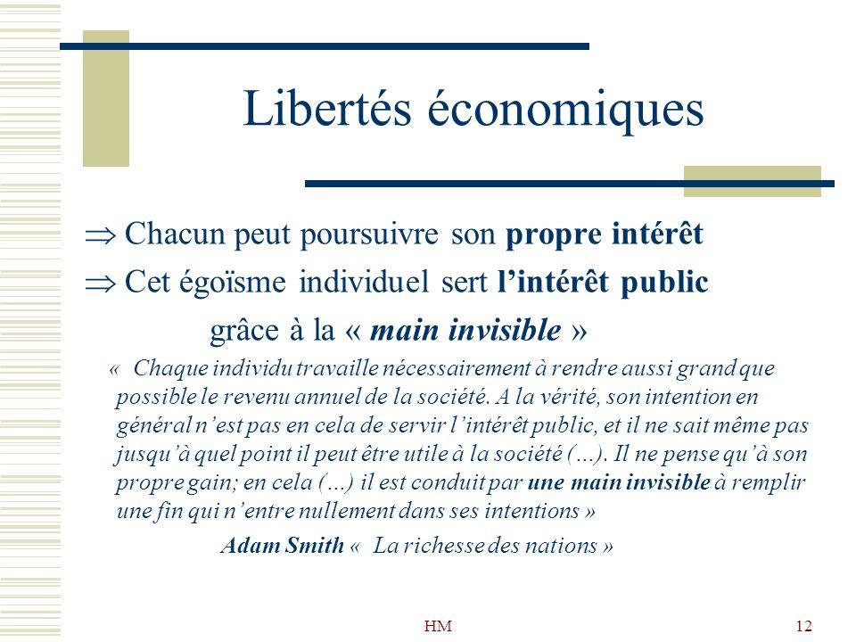 Libertés économiques Chacun peut poursuivre son propre intérêt