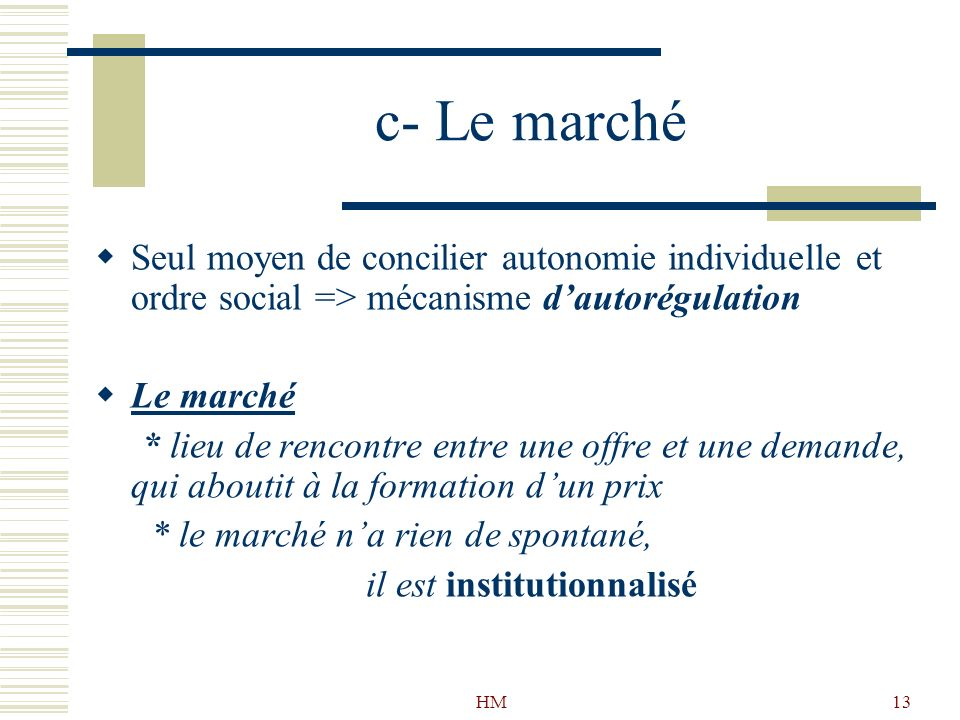 c- Le marché Seul moyen de concilier autonomie individuelle et ordre social => mécanisme d'autorégulation.