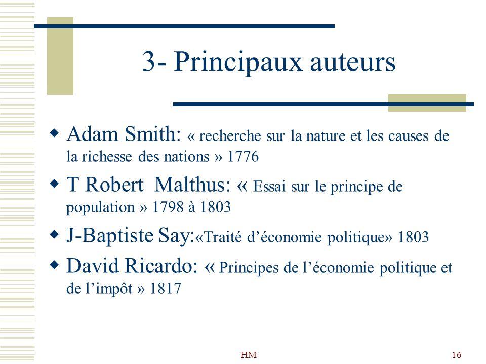 3- Principaux auteurs Adam Smith: « recherche sur la nature et les causes de la richesse des nations » 1776.