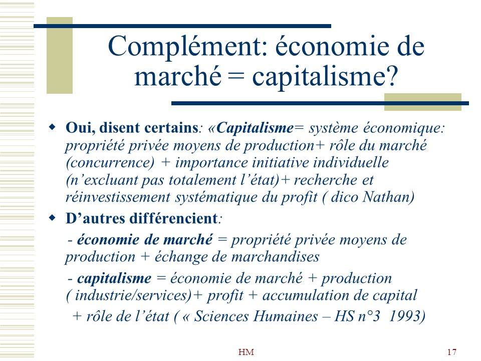 Complément: économie de marché = capitalisme