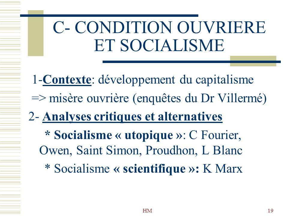 C- CONDITION OUVRIERE ET SOCIALISME