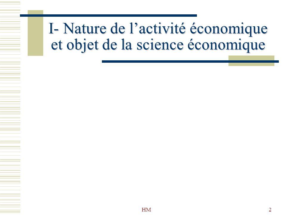 I- Nature de l'activité économique et objet de la science économique