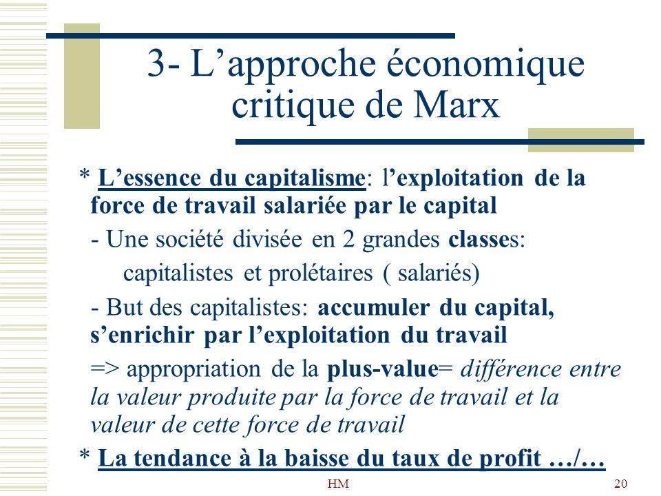 3- L'approche économique critique de Marx
