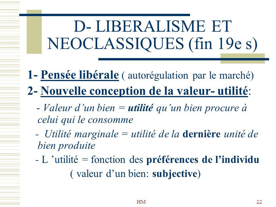 D- LIBERALISME ET NEOCLASSIQUES (fin 19e s)