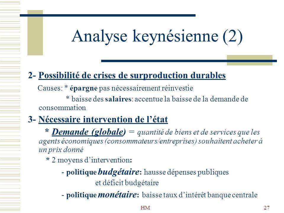 Analyse keynésienne (2)