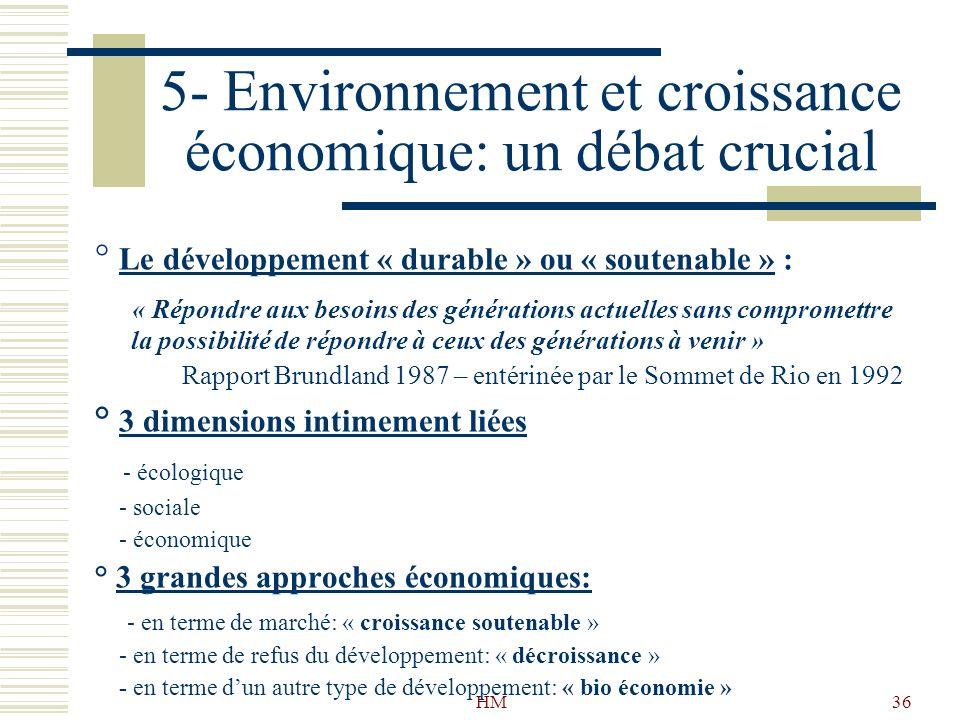 5- Environnement et croissance économique: un débat crucial