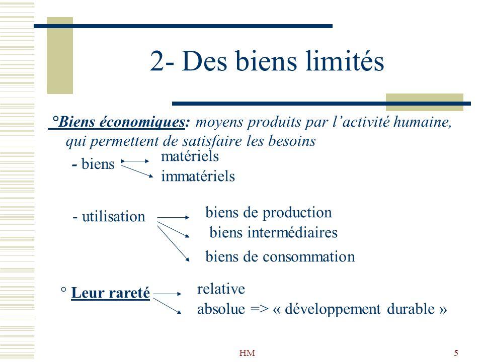 2- Des biens limités °Biens économiques: moyens produits par l'activité humaine, qui permettent de satisfaire les besoins.