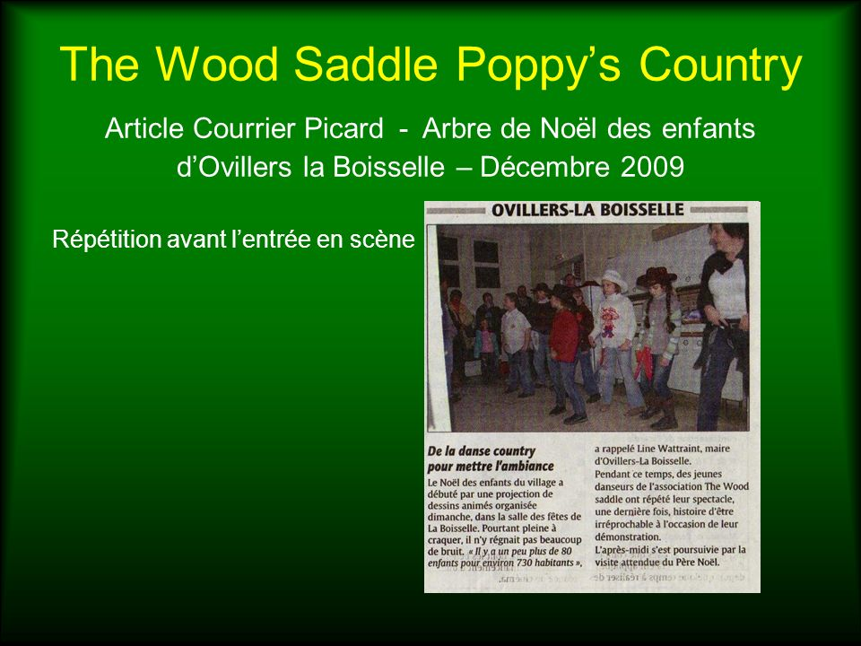 The Wood Saddle Poppy's Country Article Courrier Picard - Arbre de Noël des enfants d'Ovillers la Boisselle – Décembre 2009