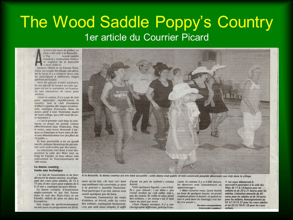 The Wood Saddle Poppy's Country 1er article du Courrier Picard