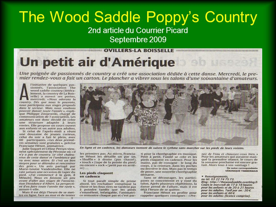 The Wood Saddle Poppy's Country 2nd article du Courrier Picard Septembre 2009