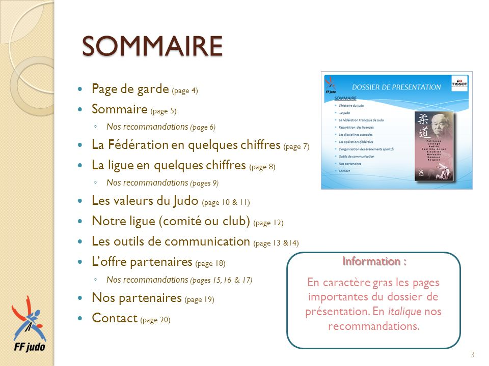 SOMMAIRE Page de garde (page 4) Sommaire (page 5)